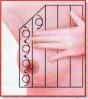 Auto-exame de mamas. Divida o seio em faixas verticais e horizontais e com os dedos estendidos e em pequenos movimentos circulares, faça a palpação de cada faixa, de cima para baixo.