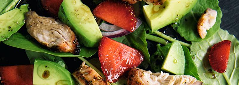 Chicken, Strawberry, Avocado And Spinach Salad
