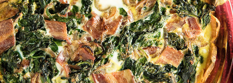 Sweet Potato, Spinach, And Bacon Quiche