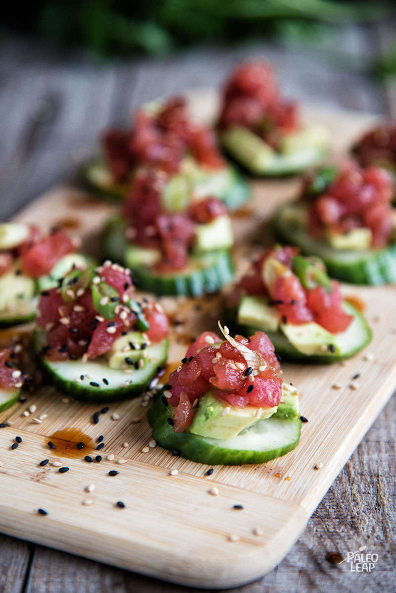Spicy tuna and cucumber bites paleo leap for Asian canape ideas