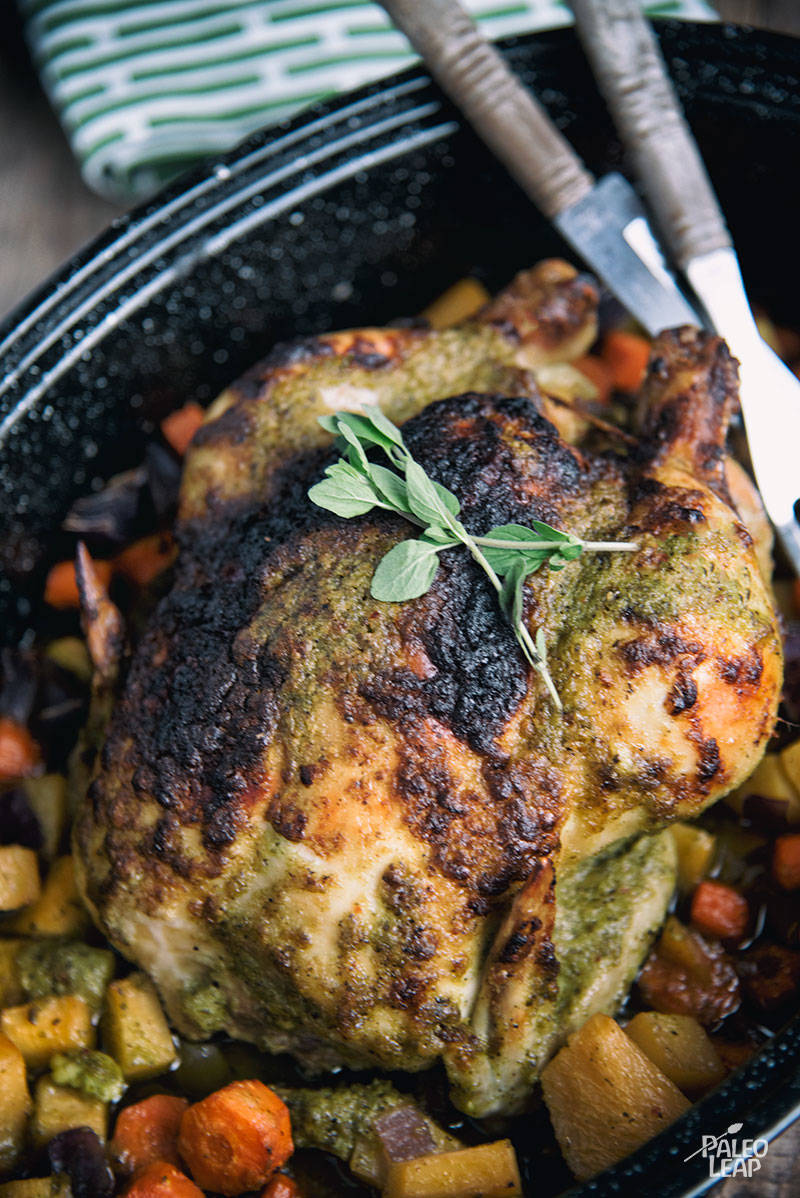 Whole Roasted Chicken With Chimichuri Sauce