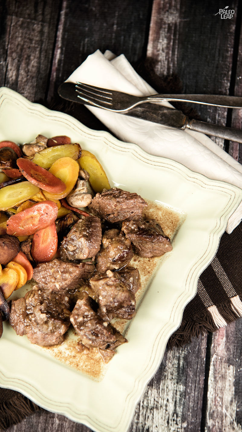 Beef Cubes With Roasted Carrots And Mushrooms