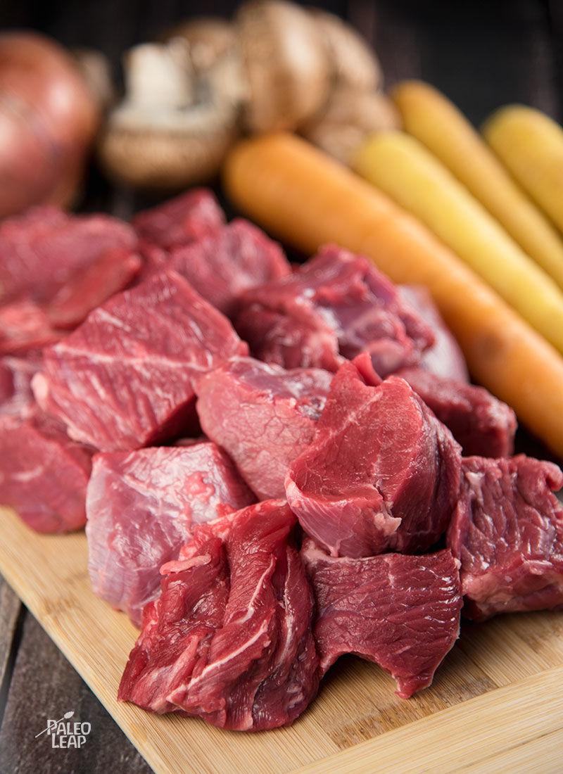 Beef cubes preparation