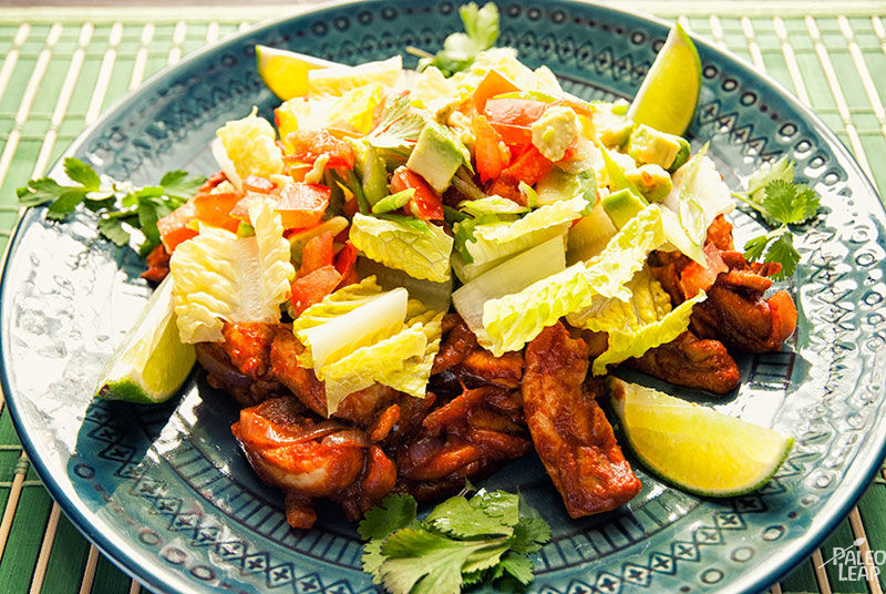 Chicken with lime and avocado salad