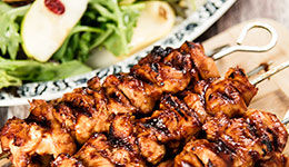 Chicken Kebabs With Apple Cranberry Salad