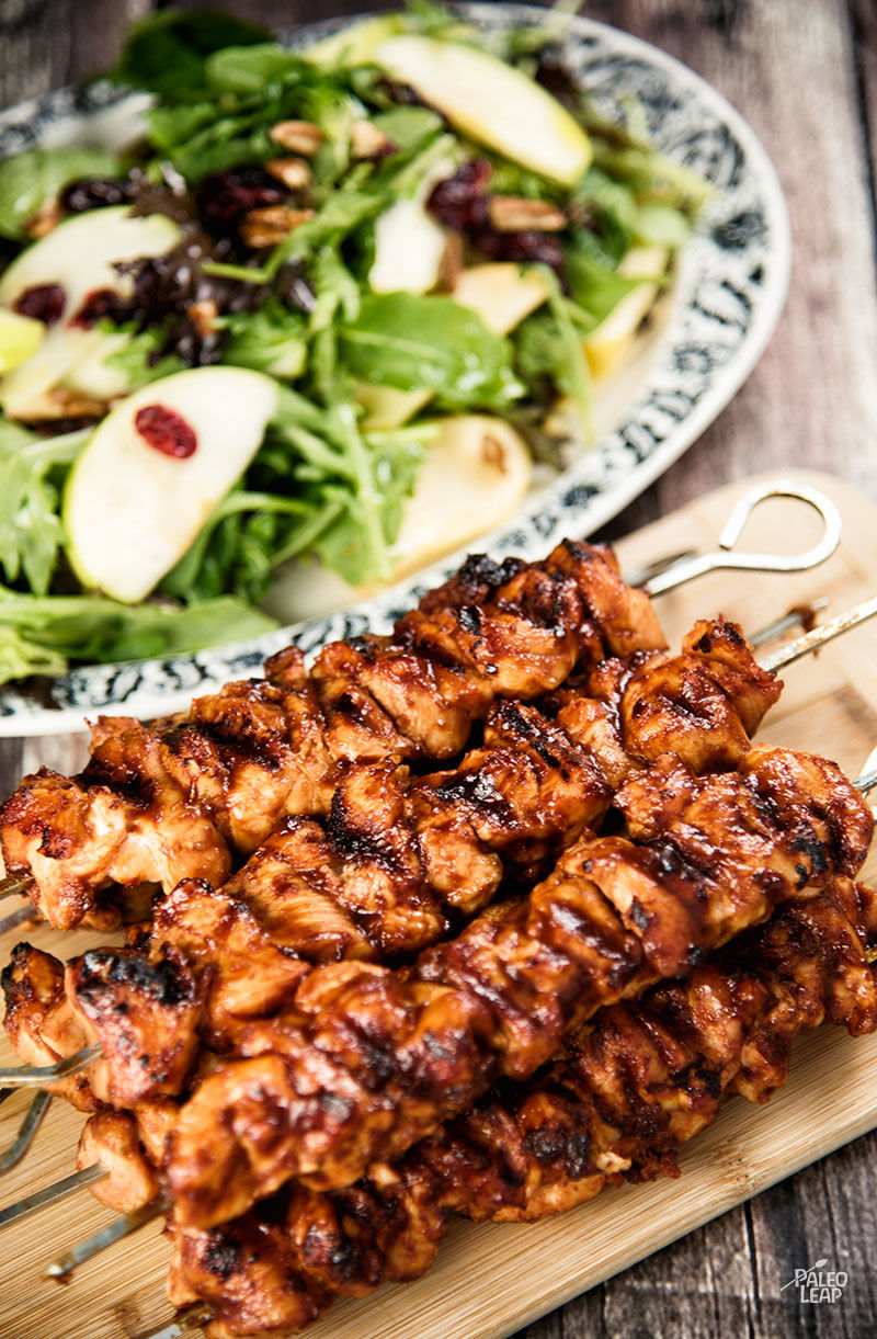 Chicken Kebabs With Apple Cranberry Salad | Paleo Leap