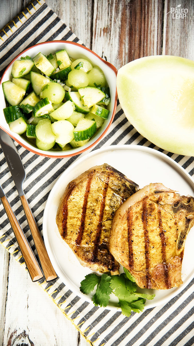 Curried Pork Chops With Honeydew And Cucumber | Living Paleo