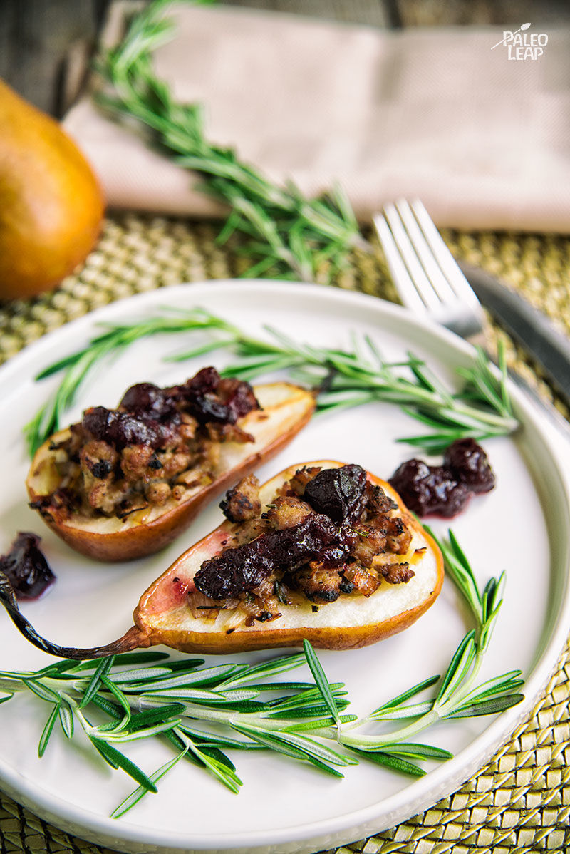 Sausage and Cranberry-Stuffed Pears