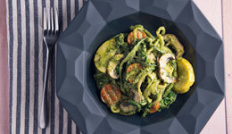 Vegetables in a Creamy Pesto Sauce