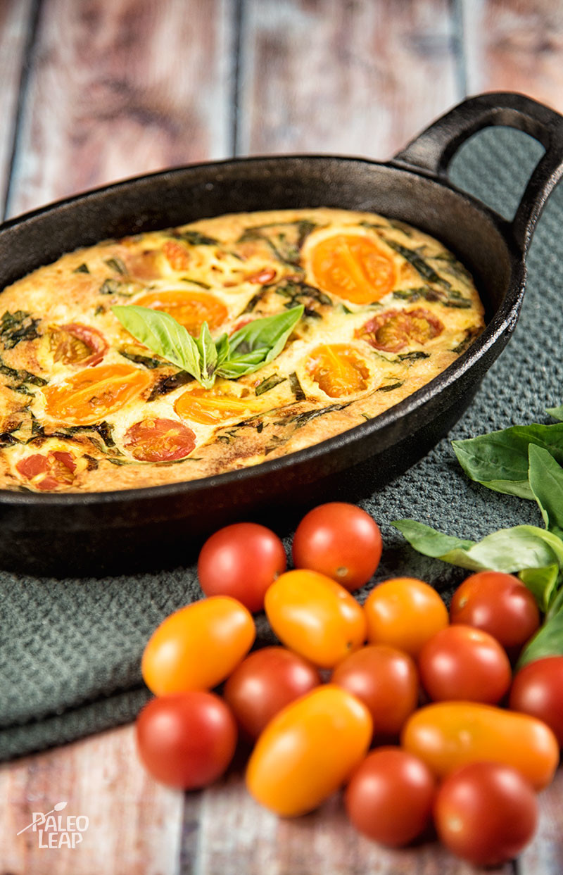 Cherry Tomato And Basil Quiche | Paleo Leap
