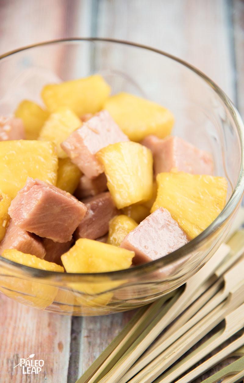 Ham And Pineapple Skewers preparation