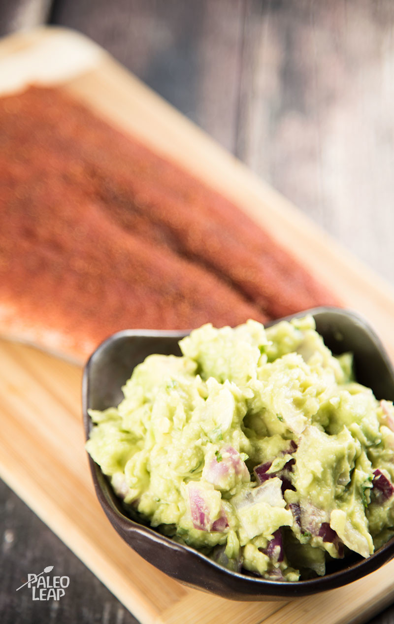 Grilled Salmon With Avocado Sauce preparation