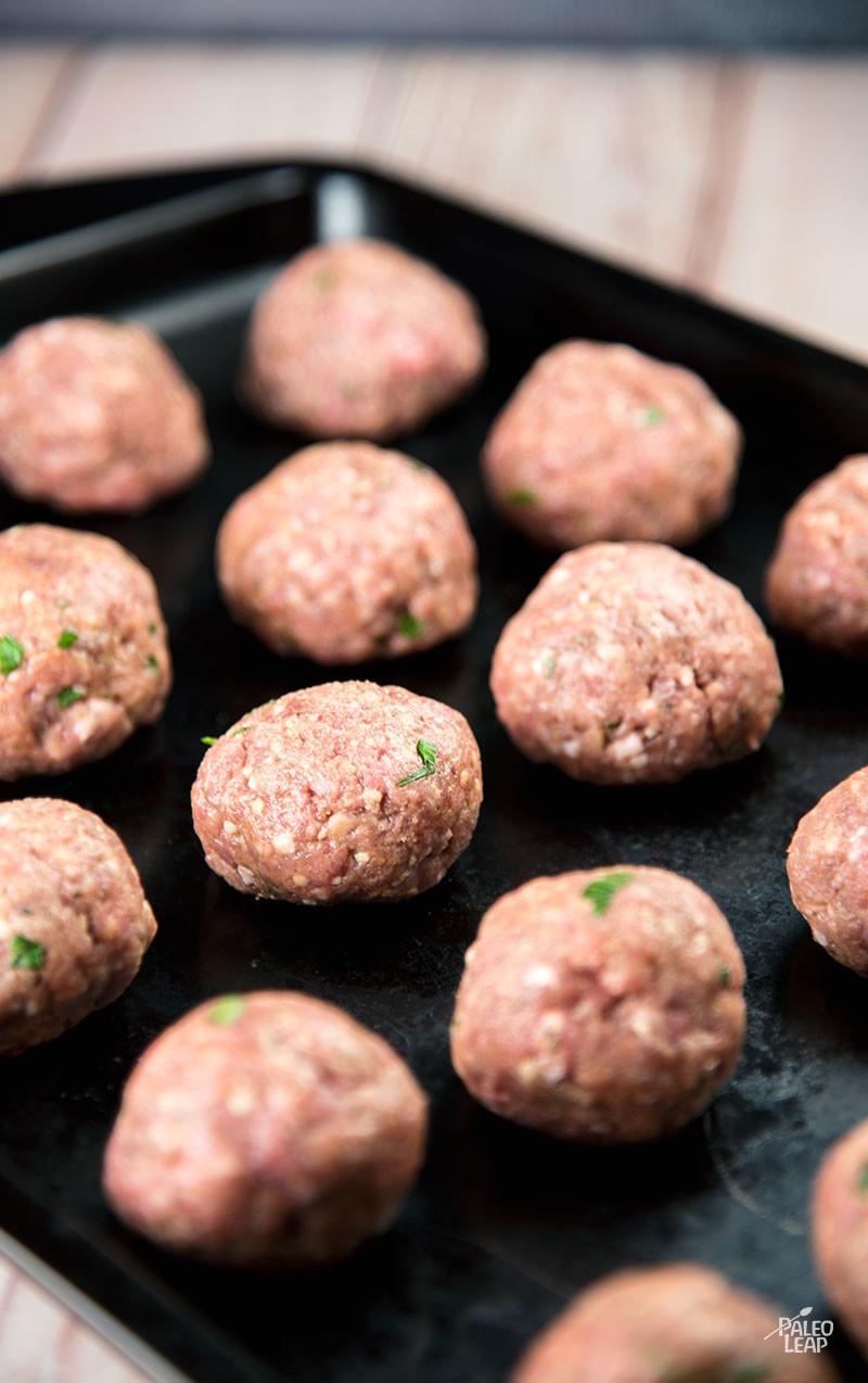 Greek-Style Meatballs preparation