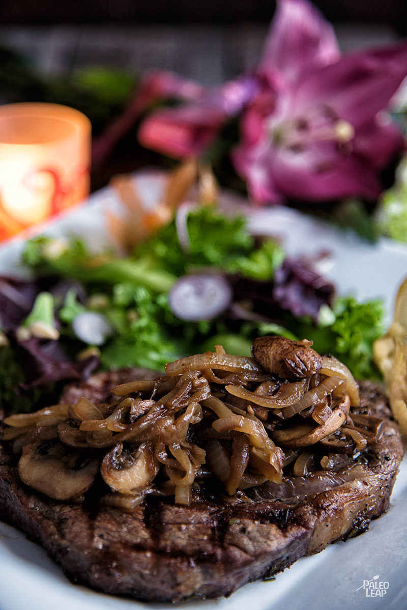 Ribeye With Caramelized Onions And Mushrooms