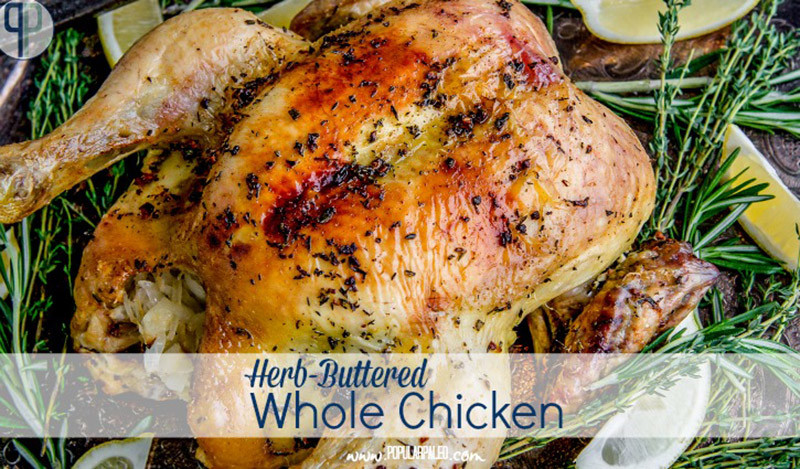 Herb-Buttered Whole Chicken Stuffed