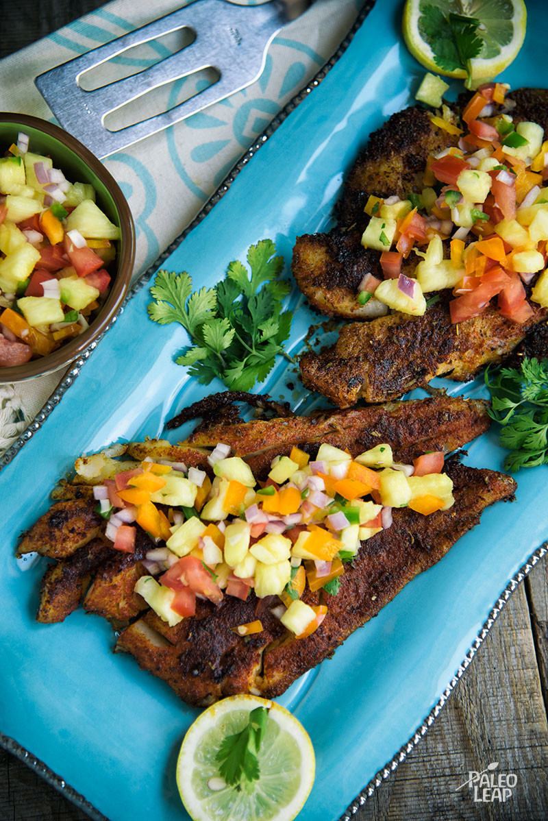 Cajun fish with pineapple salsa paleo leap for Pineapple sauce for fish