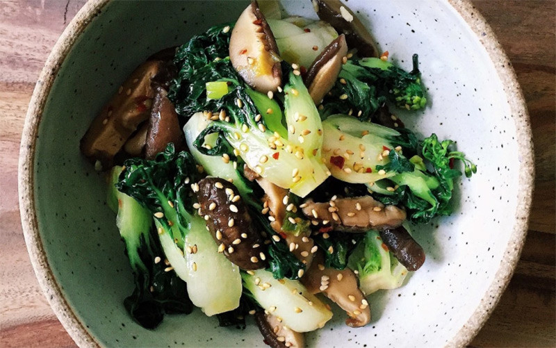 Shiitake Mushrooms Baby Bok Choy