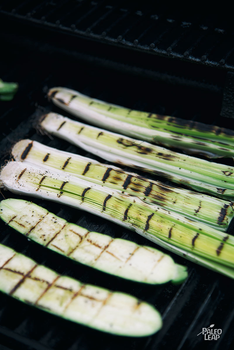 Grilled Zucchini And Leeks preparation