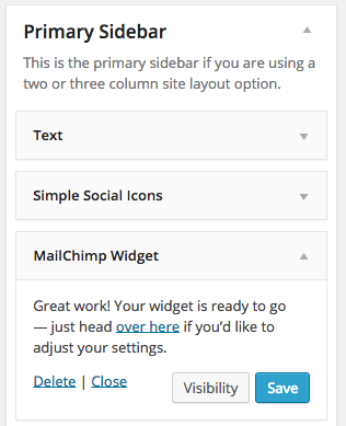 MailChimp Widget Move to Sidebar