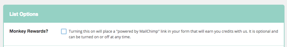 MailChimp List Option - Disable Rewards