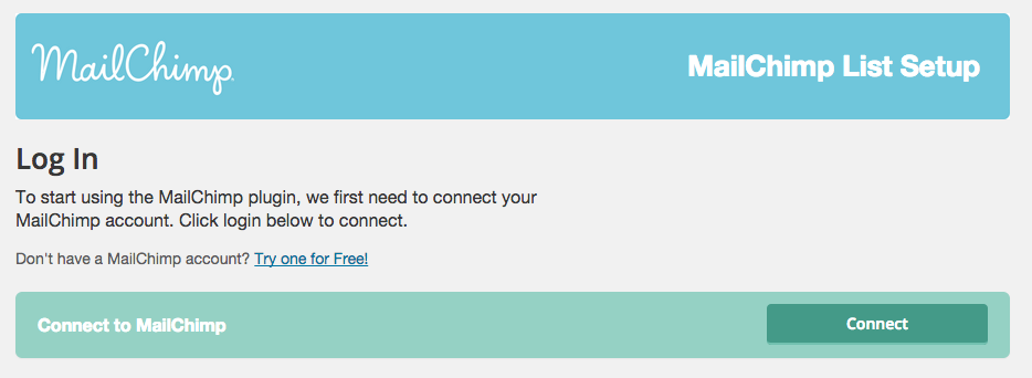 MailChimp Connection Page