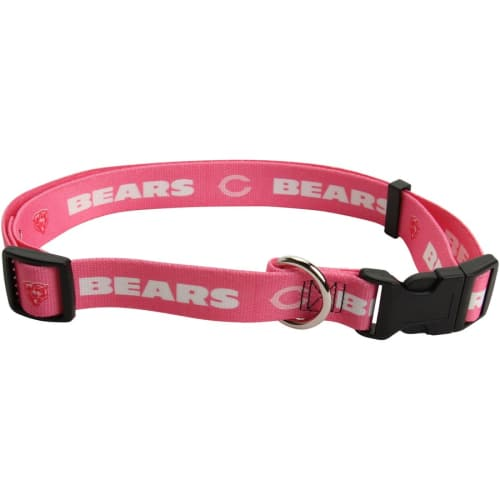 Pets First - Official NFL Pink Chicago Bear's Collar For Dogs, Small