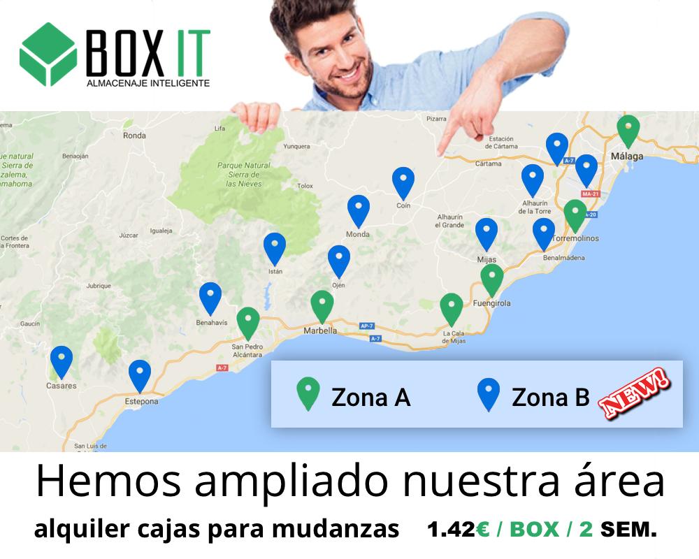 Area servicio alquiler cajas para mudanzas Boxit