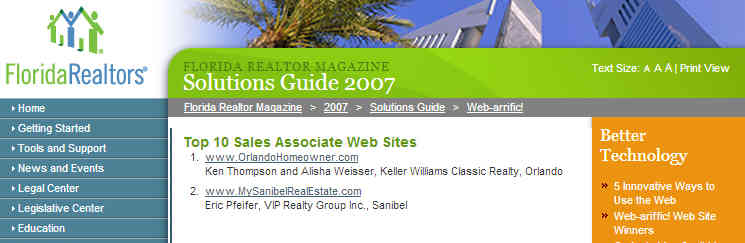 Pfeifer's Website Wins Top Honors- 3rd Year in a Row