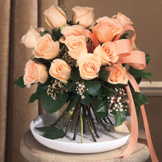 Peach Hand-Tied Rose Bouquet