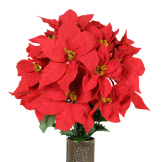Red Poinsettia (Silk Cemetery Flowers)