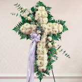 White Standing Cross With White Rose Break