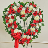 Red & White Mixed Standing Open Heart