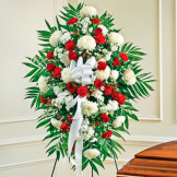 Red & White Sympathy Standing Spray