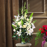 All White Sympathy Vase Bouquet