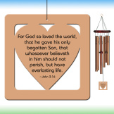 Heart Wind Chime - Bronze