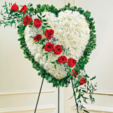 Solid White Standing Heart With Red Rose Break