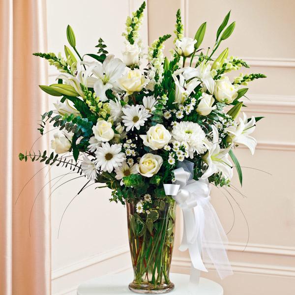 White large sympathy vase arrangement arrangements