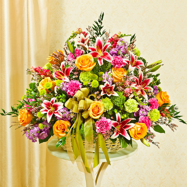 Sympathy Flower Baskets Delivery : Sympathy arrangement in basket large multicolor pastel