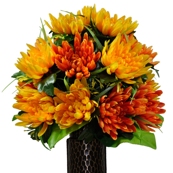 Silk Orange Fall Flowers: Orange Fuji Mum Mix (Silk Cemetery Flowers)
