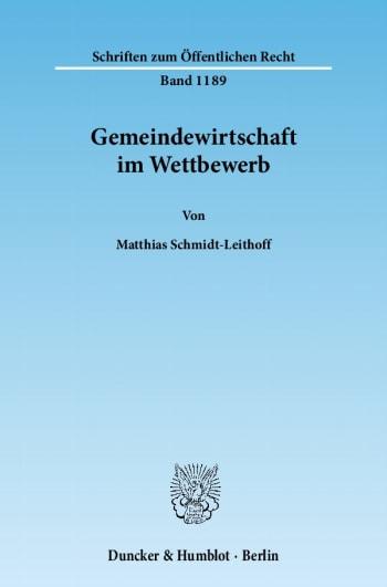 Cover: Gemeindewirtschaft im Wettbewerb
