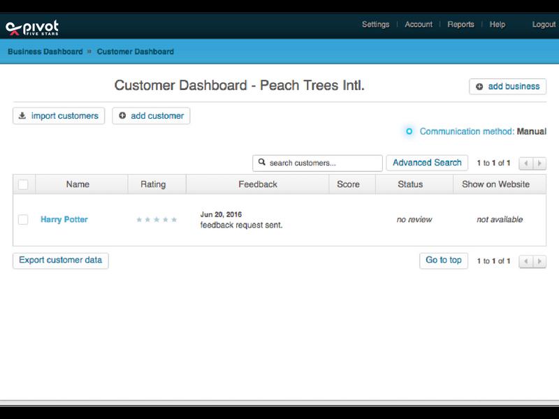 Pivot Five Stars.-customer-dashboard
