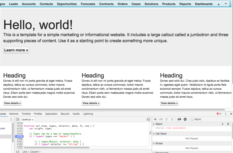 Visualforce page with Chrome DevTools open