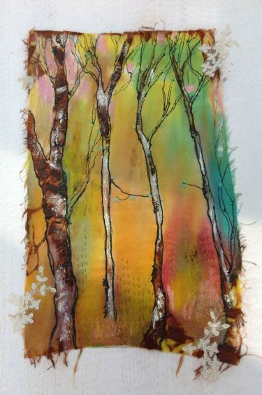Port Appin Studio textile art: Birch Trees 1
