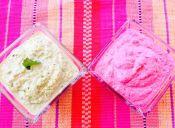 Prepara hummus de garbanzos en rosado y verde