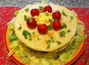Receta: Torta de panqueque y verduras