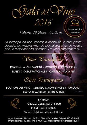 Gala del Vino 2016 en Brasas del Sur
