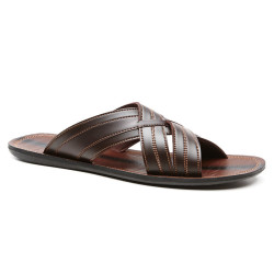 Cubavera Mens Cross Slide Sandals in Wood or Jet Black