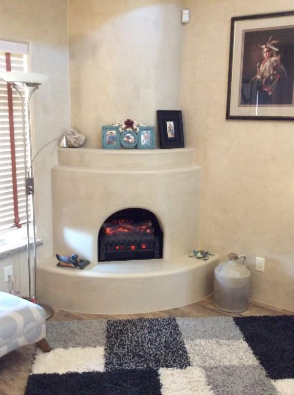 Black stone fireplace surround