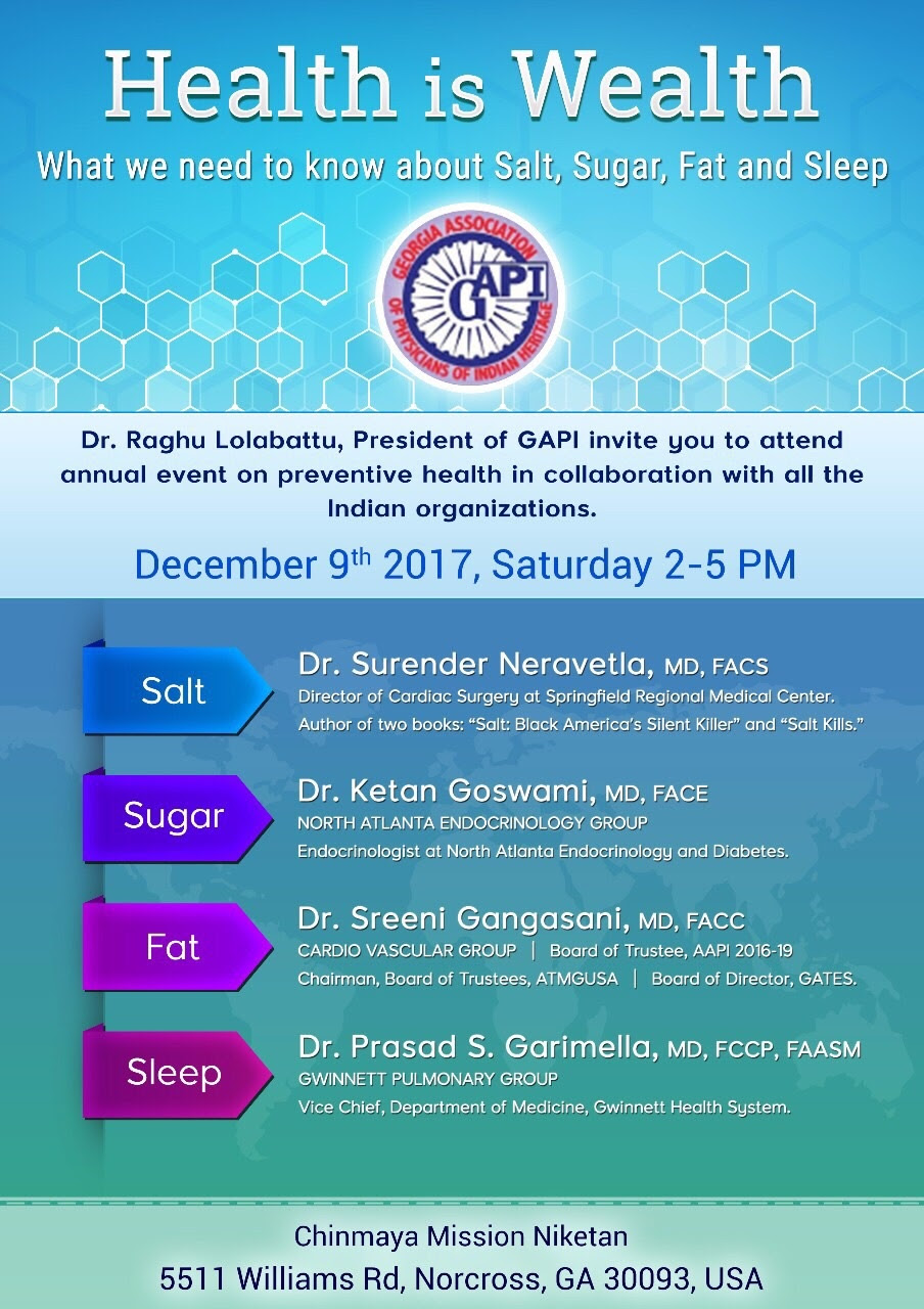 HEALTH IS WEALTH - Chinmaya Mission Atlanta (GAPI)-Cancelled due to snow