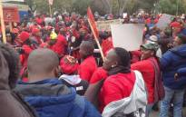 Eskom workers affiliated to NUM protesting outside the utility's offices at Megawatt Park on 14 June 2018. Picture: @NUM_Media/Twitter